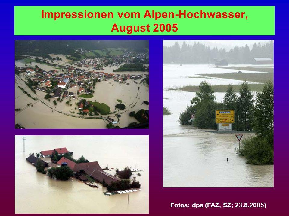 Impressionen vom Alpen-Hochwasser, August 2005 Fotos: dpa (FAZ, SZ; 23.8.2005)