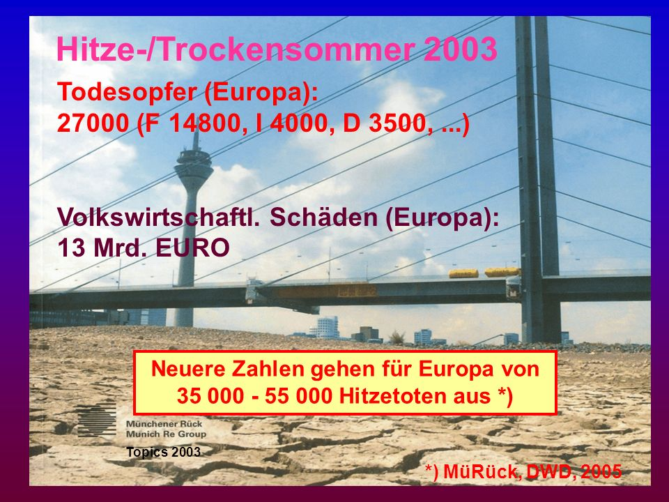 Todesopfer (Europa): 27000 (F 14800, I 4000, D 3500,...) Volkswirtschaftl. Schäden (Europa): 13 Mrd. EURO Topics 2003 Hitze-/Trockensommer 2003 Neuere