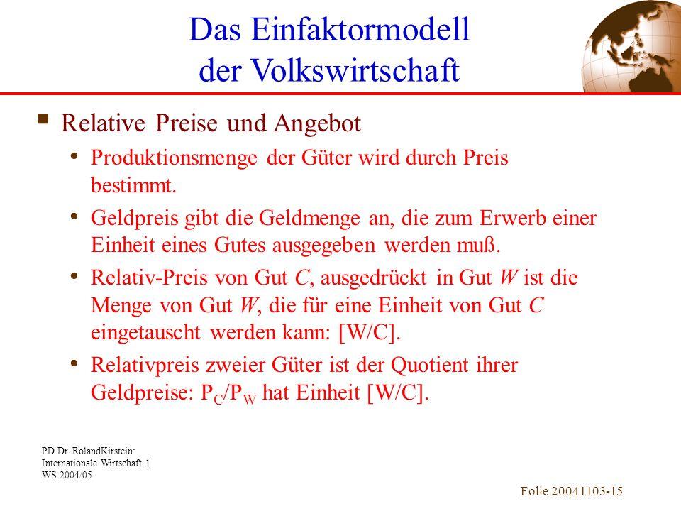 PD Dr. RolandKirstein: Internationale Wirtschaft 1 WS 2004/05 Folie 20041103-15 Relative Preise und Angebot Produktionsmenge der Güter wird durch Prei