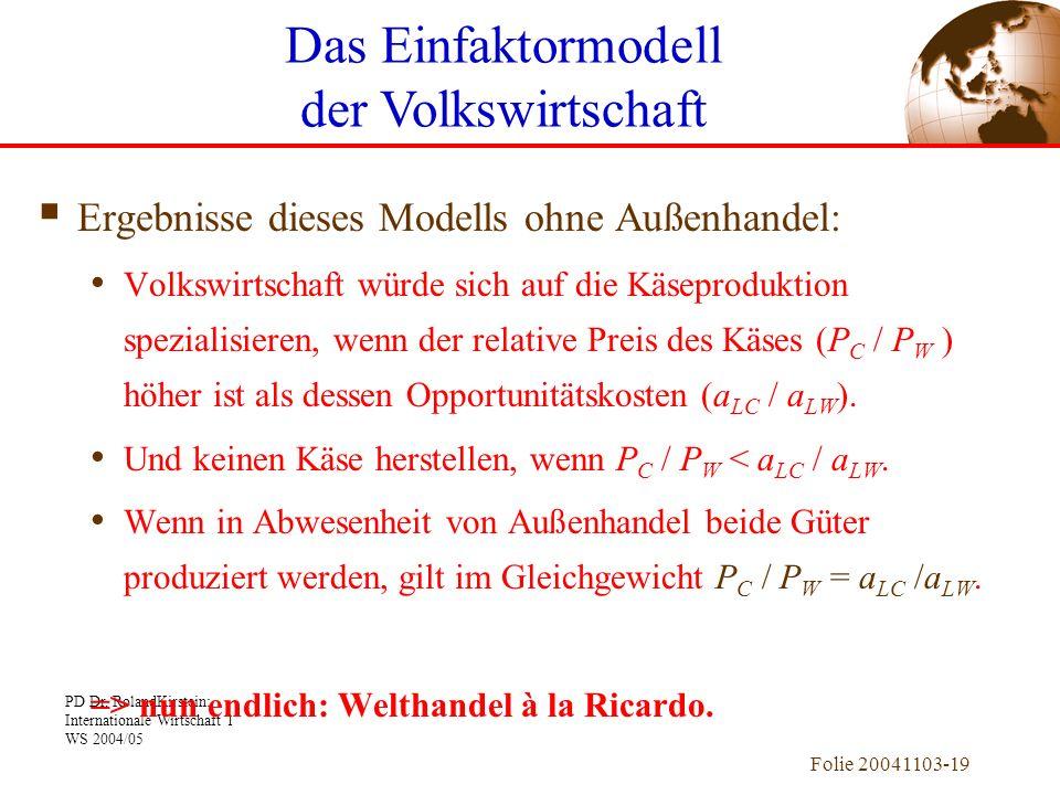 PD Dr. RolandKirstein: Internationale Wirtschaft 1 WS 2004/05 Folie 20041103-19 Ergebnisse dieses Modells ohne Außenhandel: Volkswirtschaft würde sich