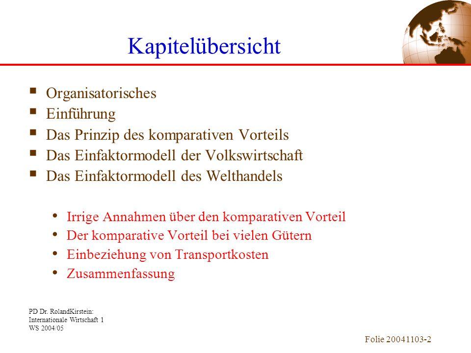 PD Dr. RolandKirstein: Internationale Wirtschaft 1 WS 2004/05 Folie 20041103-2 Kapitelübersicht Organisatorisches Einführung Das Prinzip des komparati