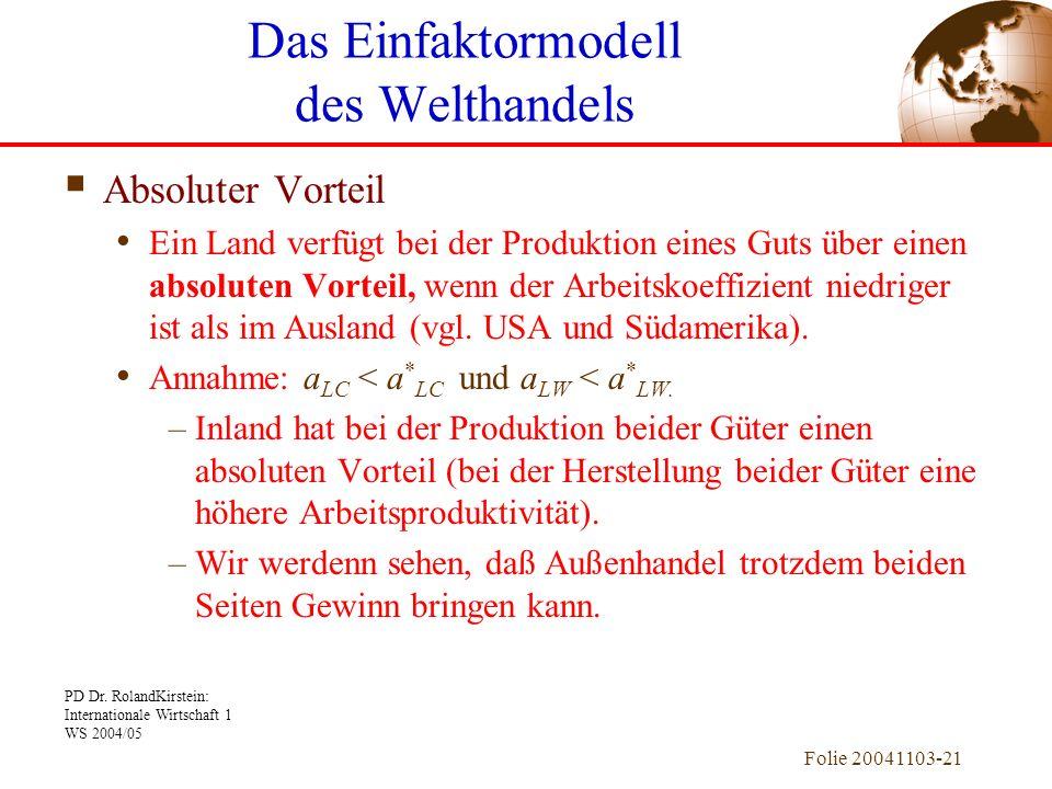 PD Dr. RolandKirstein: Internationale Wirtschaft 1 WS 2004/05 Folie 20041103-21 Absoluter Vorteil Ein Land verfügt bei der Produktion eines Guts über