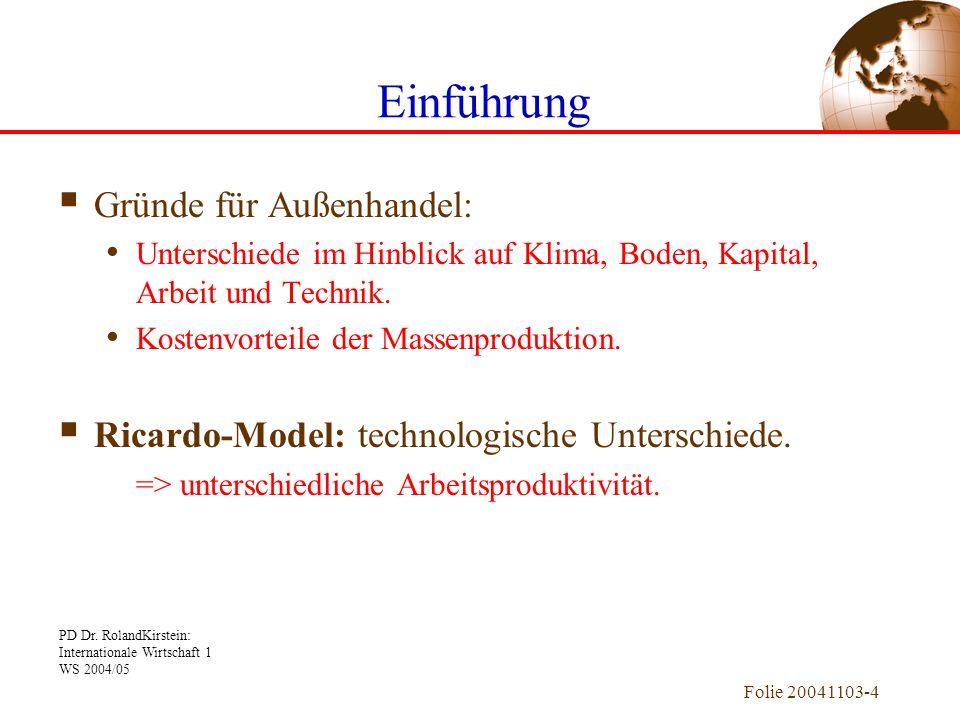 PD Dr. RolandKirstein: Internationale Wirtschaft 1 WS 2004/05 Folie 20041103-4 Gründe für Außenhandel: Unterschiede im Hinblick auf Klima, Boden, Kapi