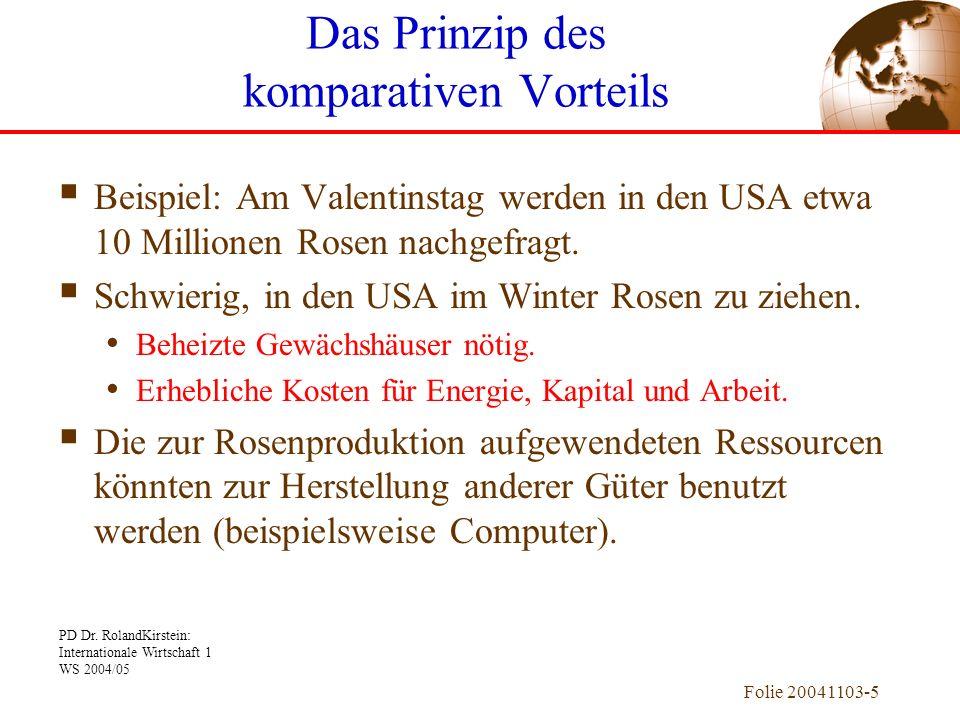 PD Dr. RolandKirstein: Internationale Wirtschaft 1 WS 2004/05 Folie 20041103-5 Beispiel: Am Valentinstag werden in den USA etwa 10 Millionen Rosen nac