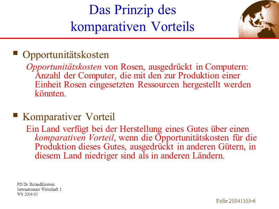 PD Dr. RolandKirstein: Internationale Wirtschaft 1 WS 2004/05 Folie 20041103-6 Opportunitätskosten Opportunitätskosten von Rosen, ausgedrückt in Compu