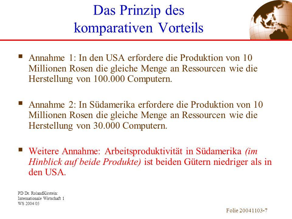 PD Dr. RolandKirstein: Internationale Wirtschaft 1 WS 2004/05 Folie 20041103-7 Annahme 1: In den USA erfordere die Produktion von 10 Millionen Rosen d