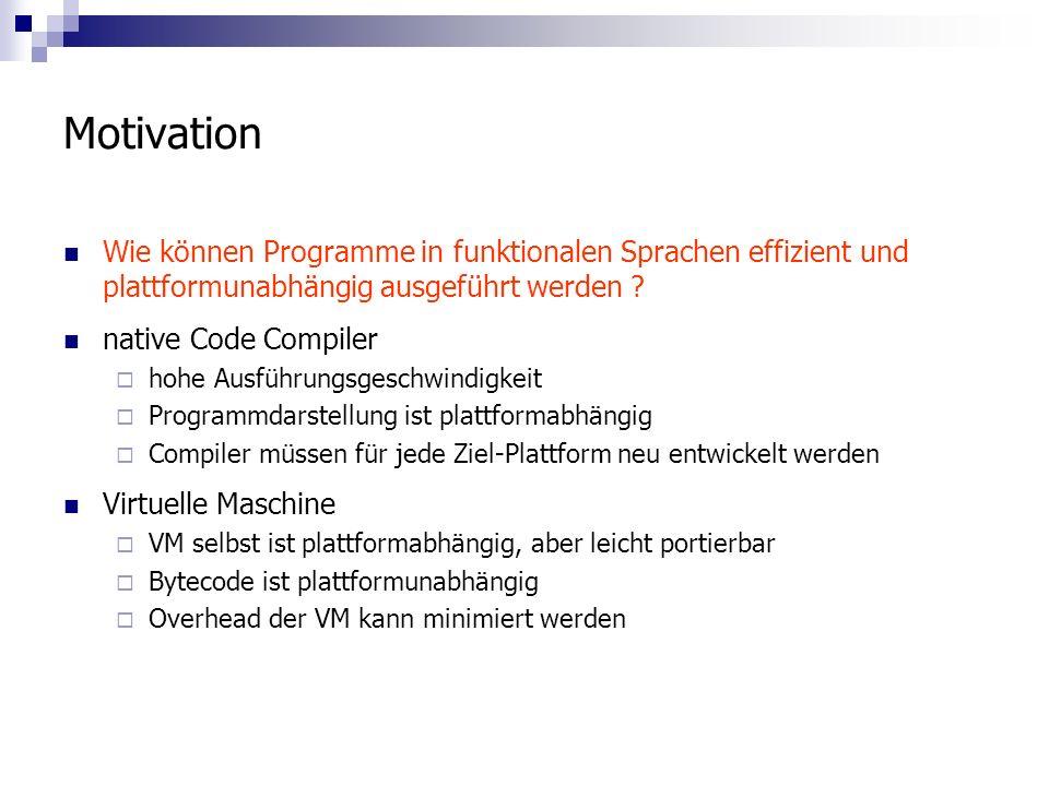 Motivation Wie können Programme in funktionalen Sprachen effizient und plattformunabhängig ausgeführt werden .