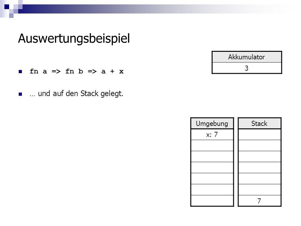 Auswertungsbeispiel fn a => fn b => a + x … und auf den Stack gelegt.