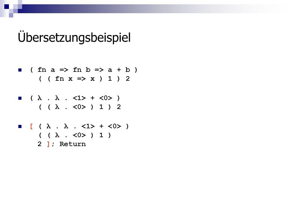 Übersetzungsbeispiel ( fn a => fn b => a + b ) ( ( fn x => x ) 1 ) 2 ( λ.