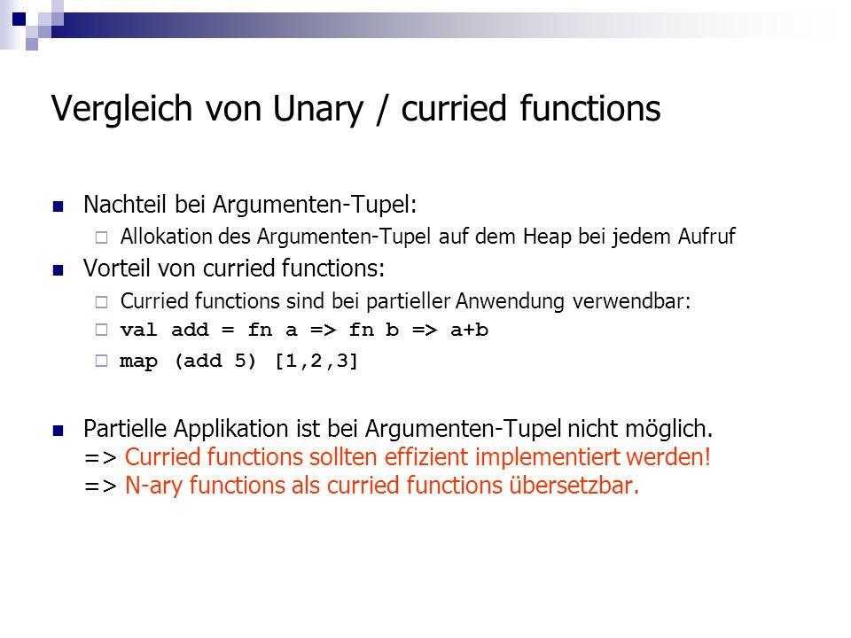 Vergleich von Unary / curried functions Nachteil bei Argumenten-Tupel: Allokation des Argumenten-Tupel auf dem Heap bei jedem Aufruf Vorteil von curried functions: Curried functions sind bei partieller Anwendung verwendbar: val add = fn a => fn b => a+b map (add 5) [1,2,3] Partielle Applikation ist bei Argumenten-Tupel nicht möglich.