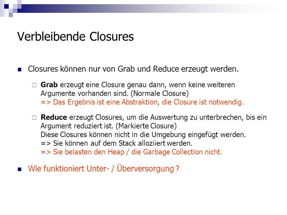 Verbleibende Closures Closures können nur von Grab und Reduce erzeugt werden.