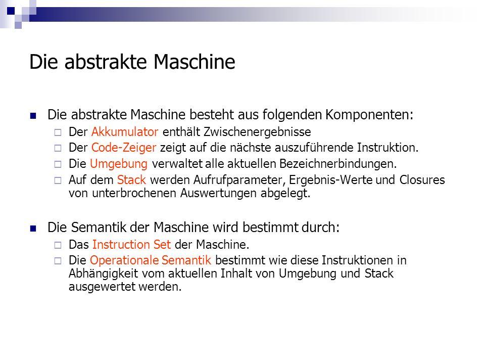 Die abstrakte Maschine Die abstrakte Maschine besteht aus folgenden Komponenten: Der Akkumulator enthält Zwischenergebnisse Der Code-Zeiger zeigt auf die nächste auszuführende Instruktion.