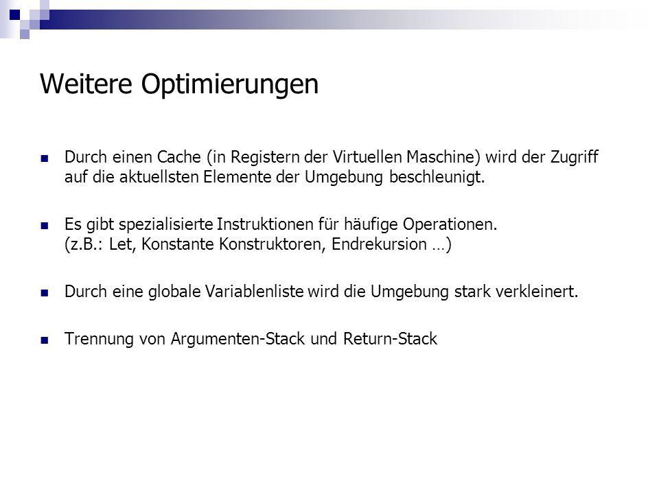 Weitere Optimierungen Durch einen Cache (in Registern der Virtuellen Maschine) wird der Zugriff auf die aktuellsten Elemente der Umgebung beschleunigt.