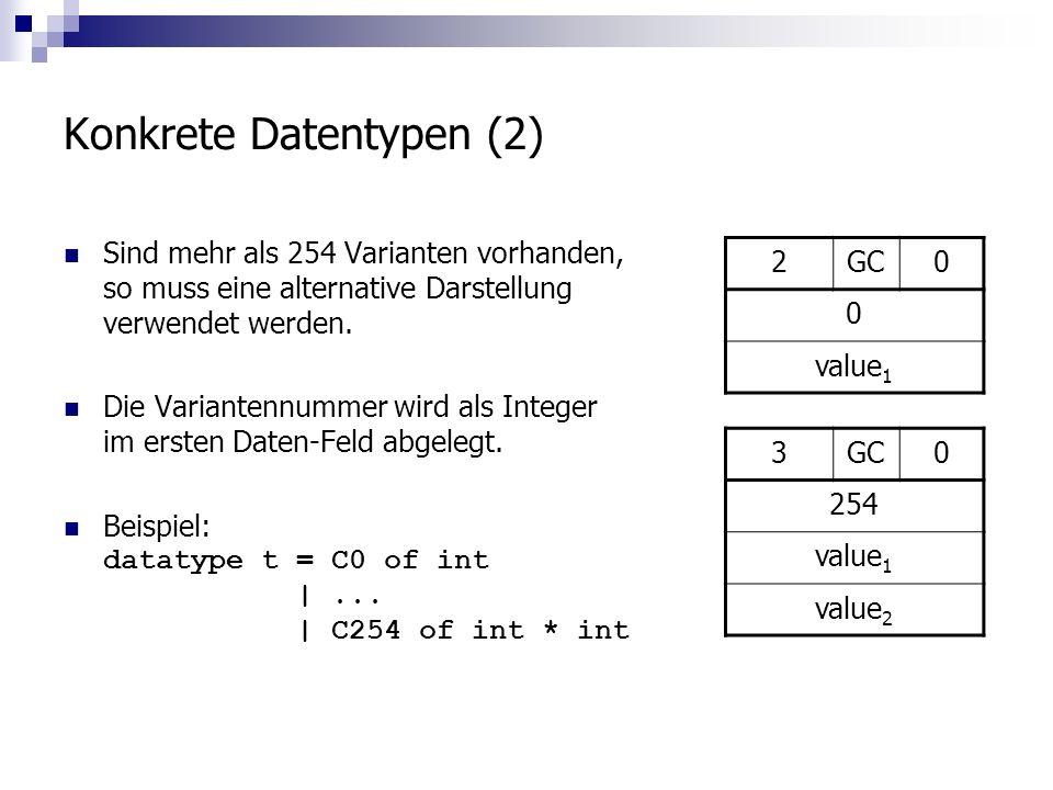 Konkrete Datentypen (2) Sind mehr als 254 Varianten vorhanden, so muss eine alternative Darstellung verwendet werden.
