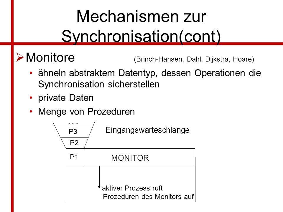 Mechanismen zur Synchronisation(cont) Monitore (Brinch-Hansen, Dahl, Dijkstra, Hoare) ähneln abstraktem Datentyp, dessen Operationen die Synchronisati