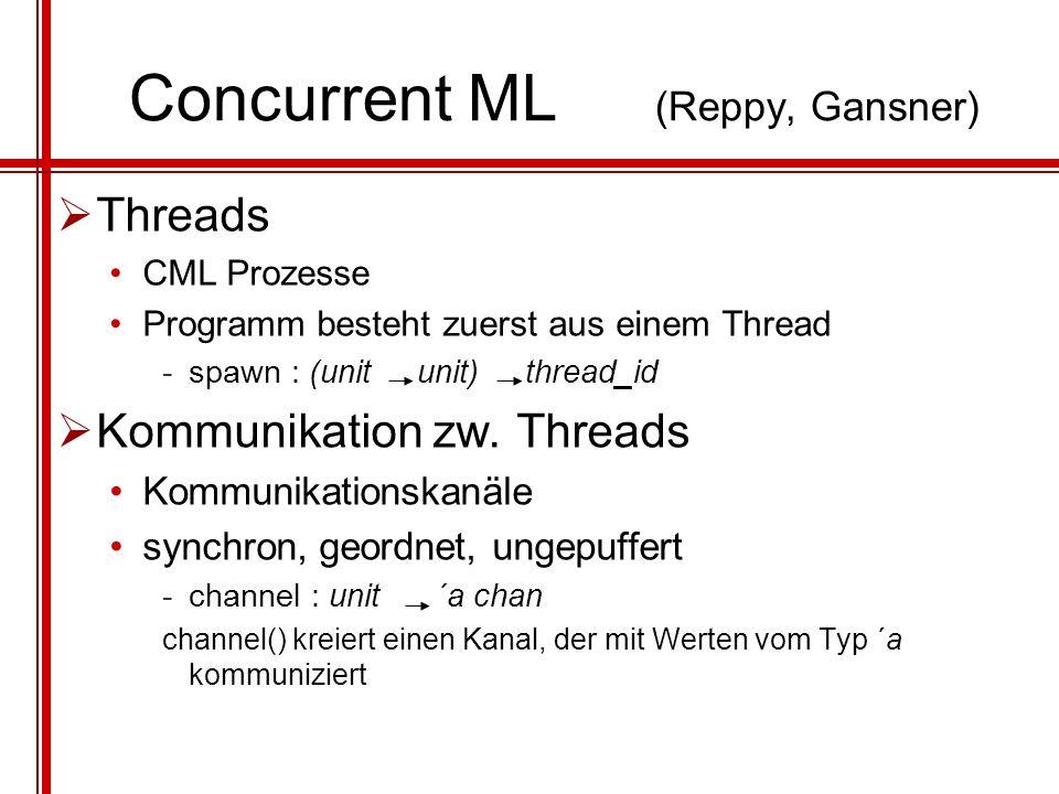 Threads CML Prozesse Programm besteht zuerst aus einem Thread -spawn : (unit unit) thread_id Kommunikation zw. Threads Kommunikationskanäle synchron,
