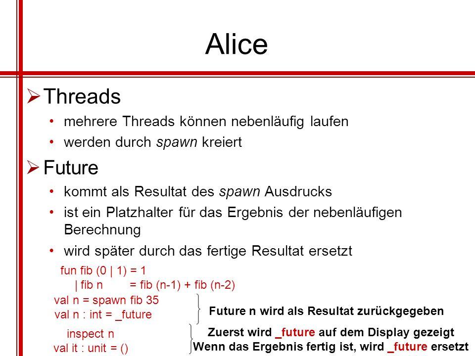 Alice Threads mehrere Threads können nebenläufig laufen werden durch spawn kreiert Future kommt als Resultat des spawn Ausdrucks ist ein Platzhalter f