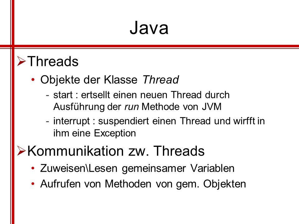 Java Threads Objekte der Klasse Thread -start : ertsellt einen neuen Thread durch Ausführung der run Methode von JVM -interrupt : suspendiert einen Th