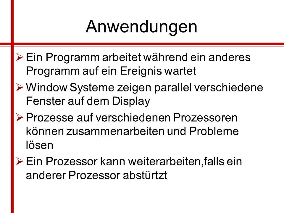 Anwendungen Ein Programm arbeitet während ein anderes Programm auf ein Ereignis wartet Window Systeme zeigen parallel verschiedene Fenster auf dem Dis