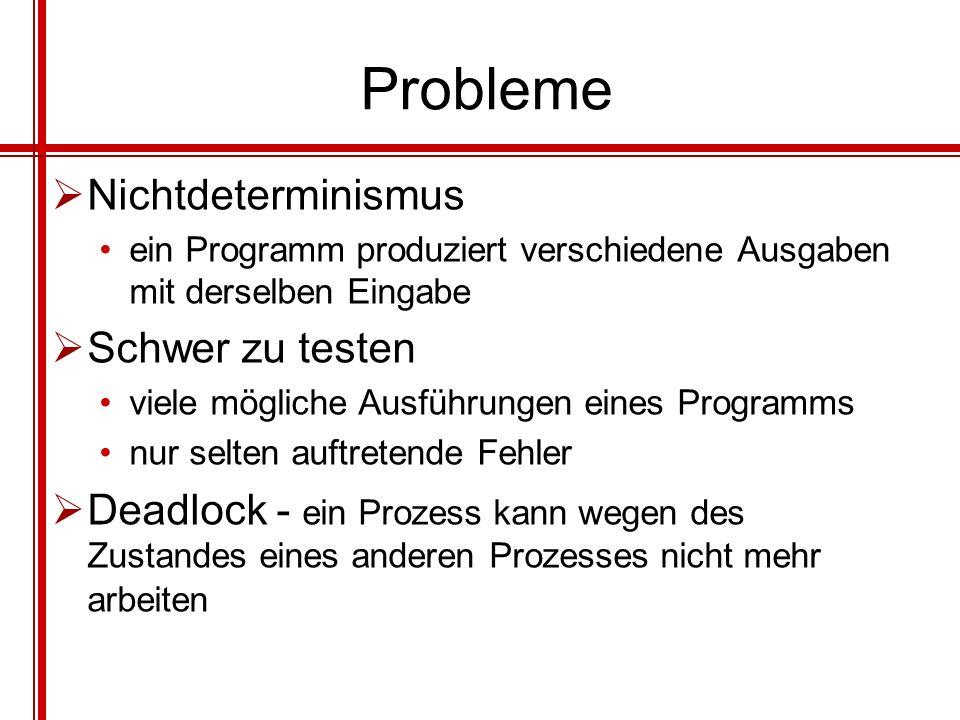 Probleme Nichtdeterminismus ein Programm produziert verschiedene Ausgaben mit derselben Eingabe Schwer zu testen viele mögliche Ausführungen eines Pro