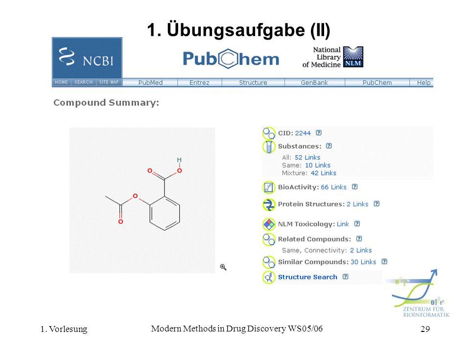 1. Vorlesung Modern Methods in Drug Discovery WS05/06 29 1. Übungsaufgabe (II)