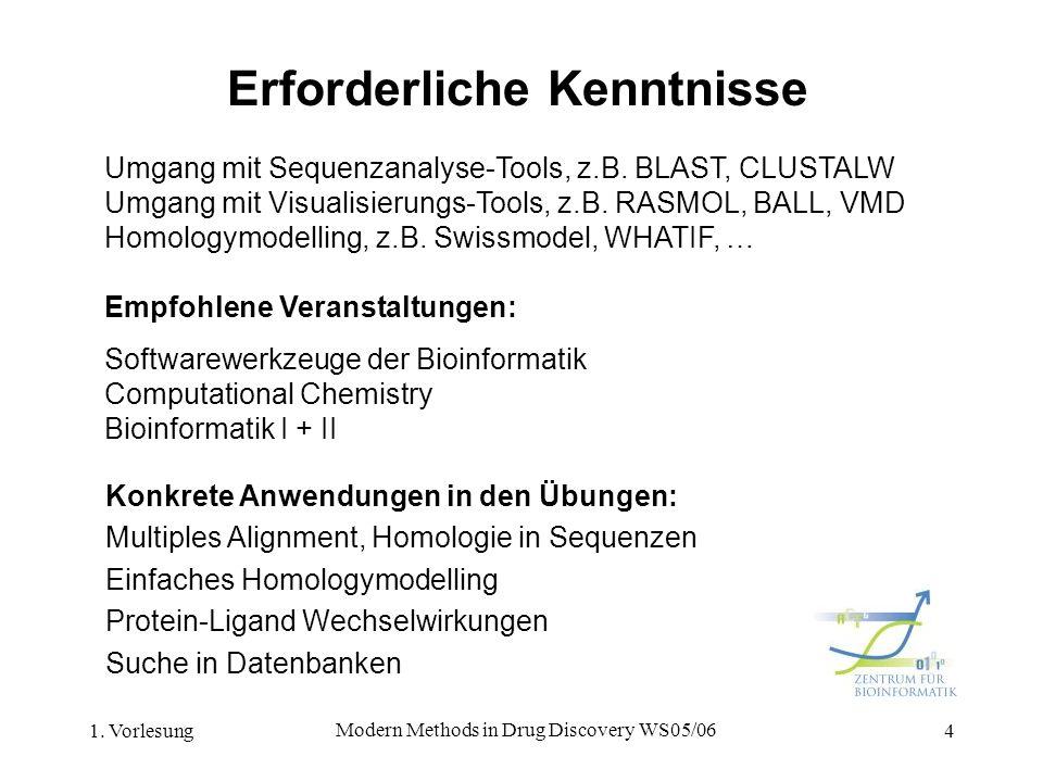 1. Vorlesung Modern Methods in Drug Discovery WS05/06 4 Erforderliche Kenntnisse Umgang mit Sequenzanalyse-Tools, z.B. BLAST, CLUSTALW Umgang mit Visu