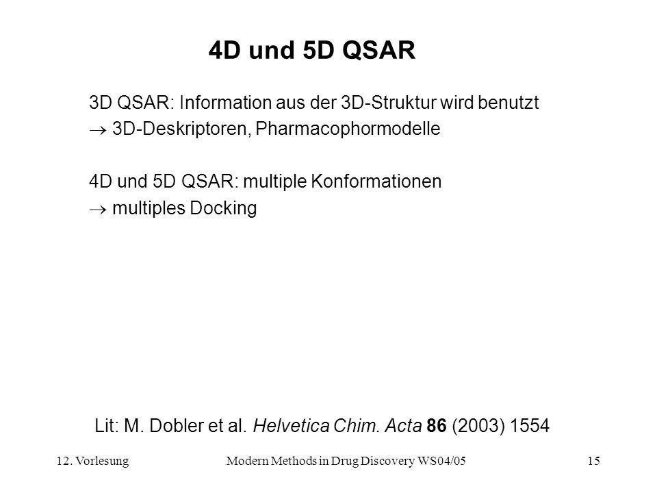 12. VorlesungModern Methods in Drug Discovery WS04/0515 4D und 5D QSAR 3D QSAR: Information aus der 3D-Struktur wird benutzt 3D-Deskriptoren, Pharmaco