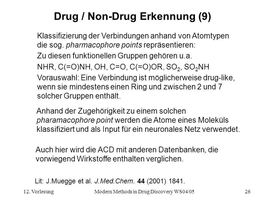 12. VorlesungModern Methods in Drug Discovery WS04/0526 Drug / Non-Drug Erkennung (9) Klassifizierung der Verbindungen anhand von Atomtypen die sog. p