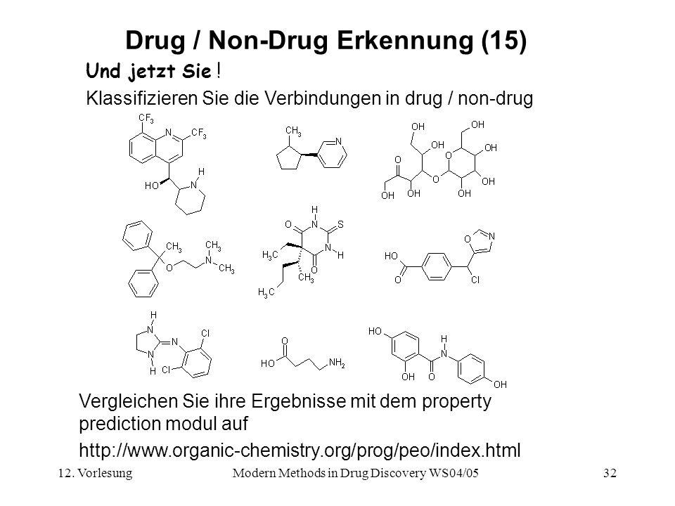 12. VorlesungModern Methods in Drug Discovery WS04/0532 Drug / Non-Drug Erkennung (15) Und jetzt Sie ! Klassifizieren Sie die Verbindungen in drug / n