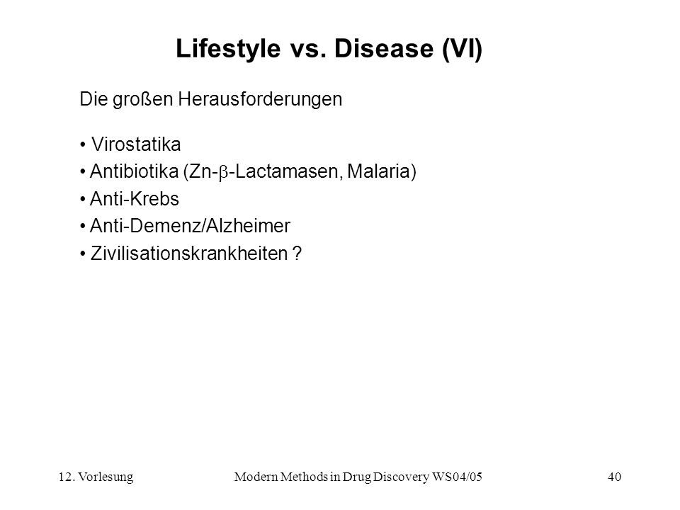 12.VorlesungModern Methods in Drug Discovery WS04/0540 Lifestyle vs.