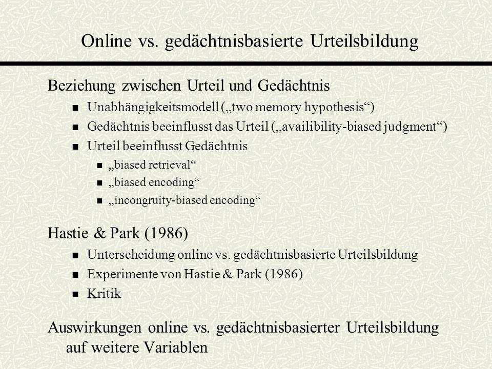 Online vs. gedächtnisbasierte Urteilsbildung Beziehung zwischen Urteil und Gedächtnis Unabhängigkeitsmodell (two memory hypothesis) Gedächtnis beeinfl