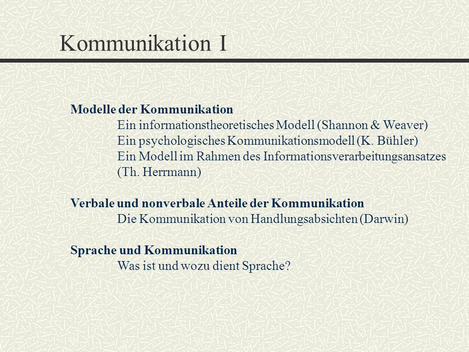 Kommunikation I Modelle der Kommunikation Ein informationstheoretisches Modell (Shannon & Weaver) Ein psychologisches Kommunikationsmodell (K. Bühler)