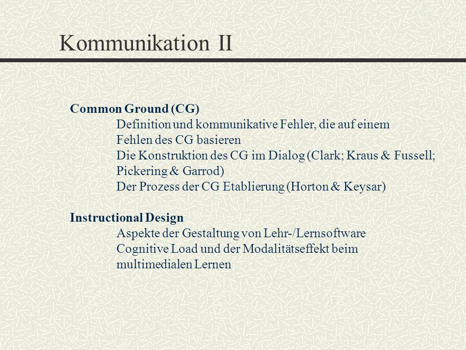 Kommunikation II Common Ground (CG) Definition und kommunikative Fehler, die auf einem Fehlen des CG basieren Die Konstruktion des CG im Dialog (Clark