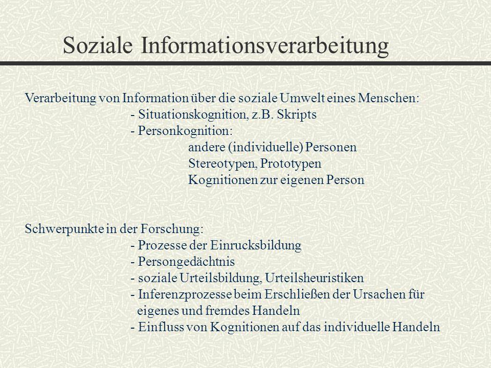 Soziale Informationsverarbeitung Verarbeitung von Information über die soziale Umwelt eines Menschen: - Situationskognition, z.B. Skripts - Personkogn