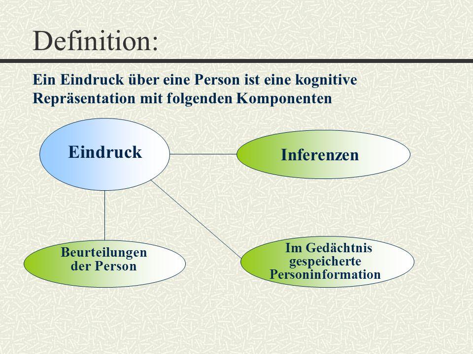 Definition: Eindruck Inferenzen Beurteilungen der Person Im Gedächtnis gespeicherte Personinformation Ein Eindruck über eine Person ist eine kognitive