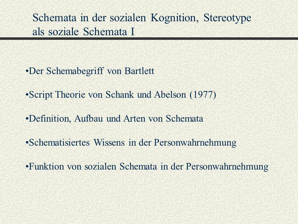 Schemata in der sozialen Kognition, Stereotype als soziale Schemata I Der Schemabegriff von Bartlett Script Theorie von Schank und Abelson (1977) Defi