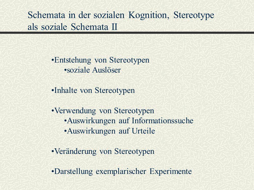 Schemata in der sozialen Kognition, Stereotype als soziale Schemata II Entstehung von Stereotypen soziale Auslöser Inhalte von Stereotypen Verwendung