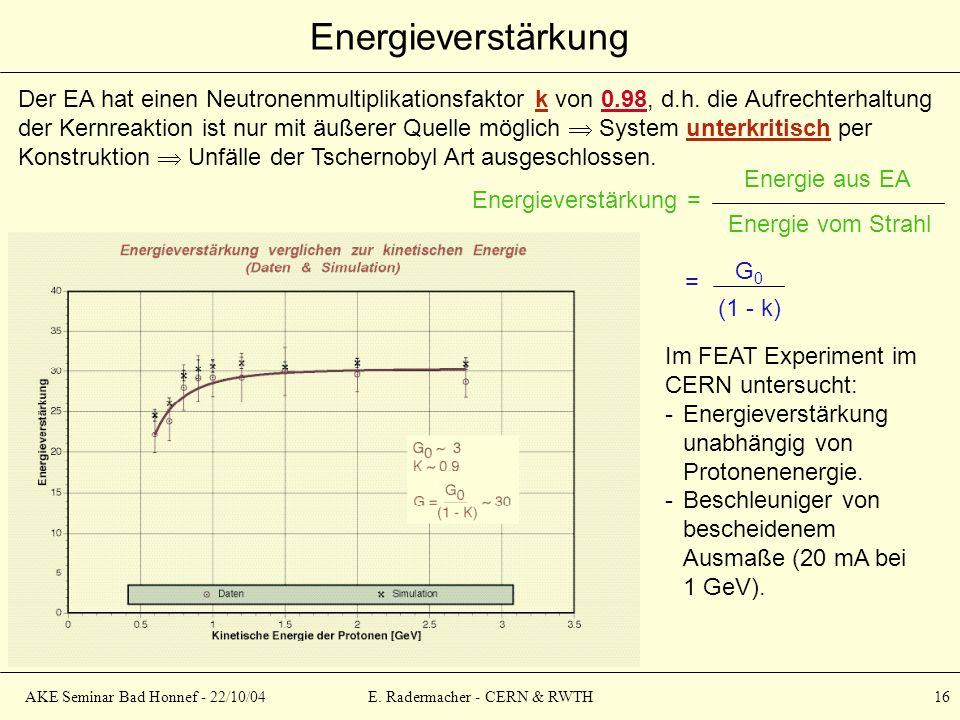 AKE Seminar Bad Honnef - 22/10/04E. Radermacher - CERN & RWTH 16 Energieverstärkung Energieverstärkung = Energie aus EA Energie vom Strahl = (1 - k) G