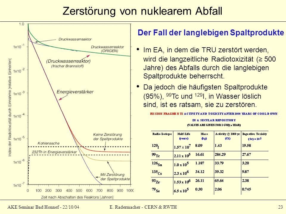 AKE Seminar Bad Honnef - 22/10/04E. Radermacher - CERN & RWTH 23 Zerstörung von nuklearem Abfall Der Fall der langlebigen Spaltprodukte Im EA, in dem