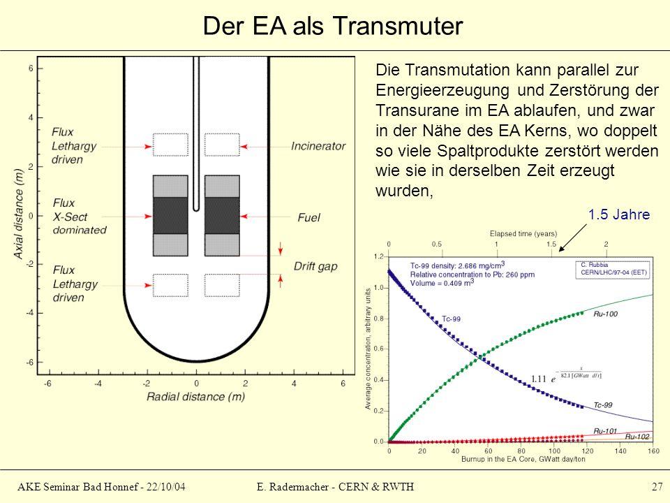 AKE Seminar Bad Honnef - 22/10/04E. Radermacher - CERN & RWTH 27 Der EA als Transmuter Die Transmutation kann parallel zur Energieerzeugung und Zerstö