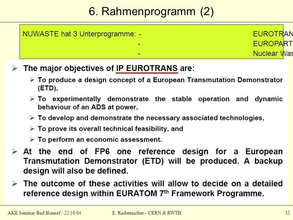 AKE Seminar Bad Honnef - 22/10/04E. Radermacher - CERN & RWTH 32 6. Rahmenprogramm (2) NUWASTE hat 3 Unterprogramme: -EUROTRANS (Transmutation) 30 M ¤