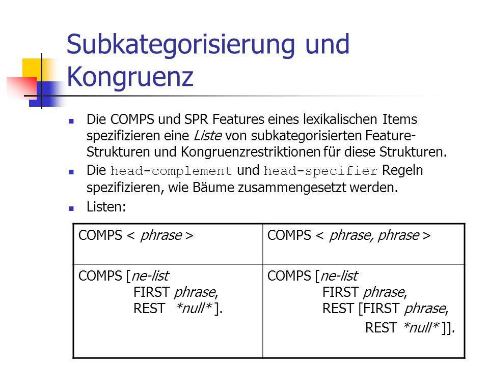 Subkategorisierung und Kongruenz Die COMPS und SPR Features eines lexikalischen Items spezifizieren eine Liste von subkategorisierten Feature- Struktu
