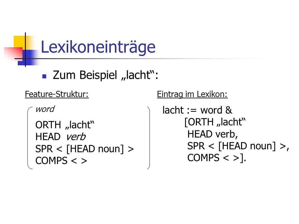 Lexikoneinträge Zum Beispiel lacht: ORTHlacht HEADverb SPR COMPS word lacht := word & [ORTH lacht HEAD verb, SPR, COMPS ]. Feature-Struktur:Eintrag im