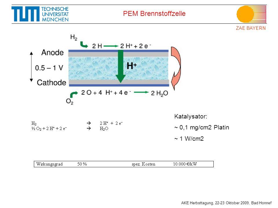 ZAE BAYERN AKE Herbsttagung, 22-23 Oktober 2009, Bad Honnef PEM Brennstoffzelle Katalysator: ~ 0,1 mg/cm2 Platin ~ 1 W/cm2