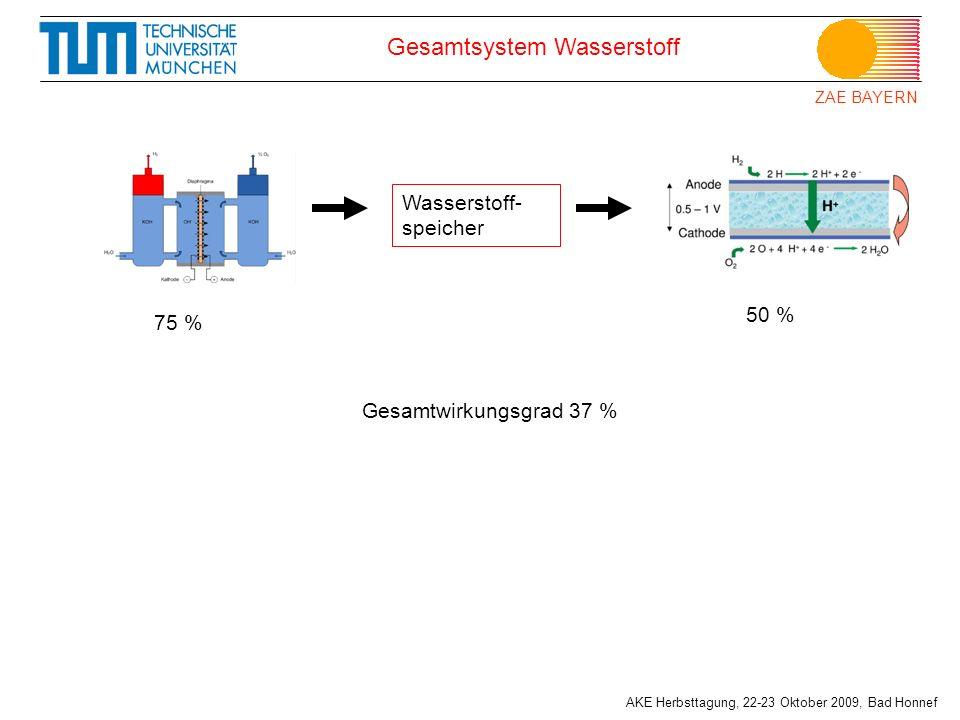ZAE BAYERN AKE Herbsttagung, 22-23 Oktober 2009, Bad Honnef Gesamtsystem Wasserstoff Wasserstoff- speicher 75 % 50 % Gesamtwirkungsgrad 37 %