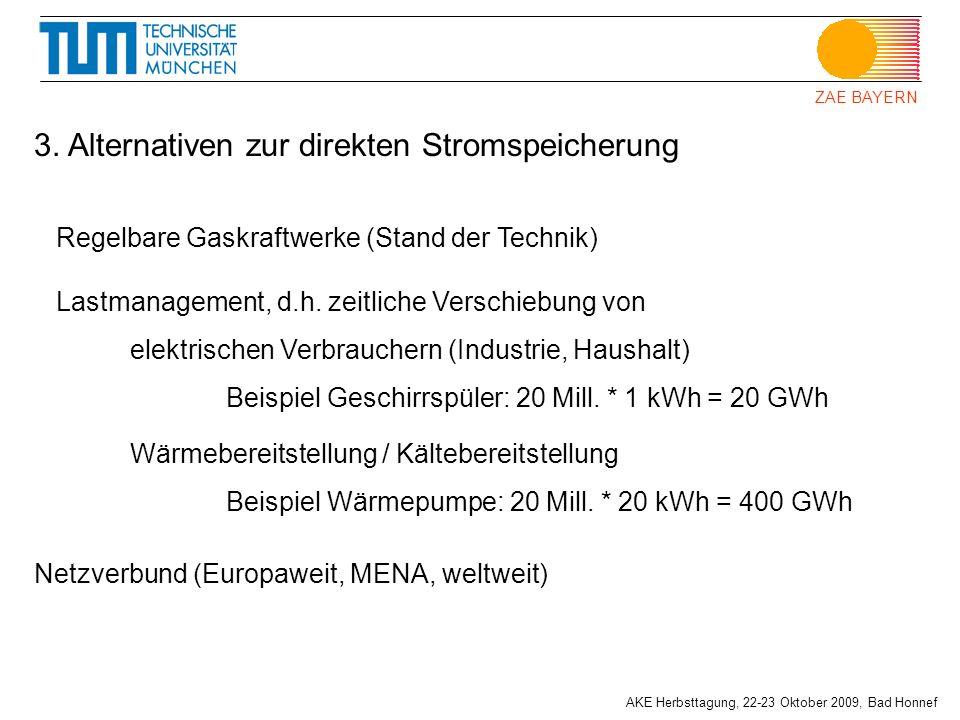ZAE BAYERN AKE Herbsttagung, 22-23 Oktober 2009, Bad Honnef Regelbare Gaskraftwerke (Stand der Technik) 3. Alternativen zur direkten Stromspeicherung