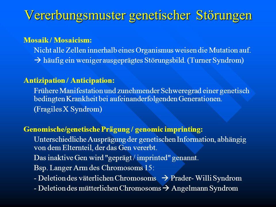 Vererbungsmuster genetischer Störungen Mosaik / Mosaicism: Nicht alle Zellen innerhalb eines Organismus weisen die Mutation auf. häufig ein weniger au