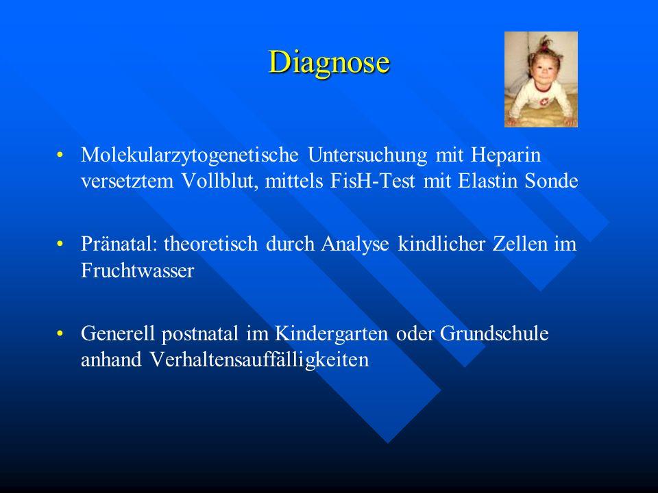 Diagnose Molekularzytogenetische Untersuchung mit Heparin versetztem Vollblut, mittels FisH-Test mit Elastin Sonde Pränatal: theoretisch durch Analyse