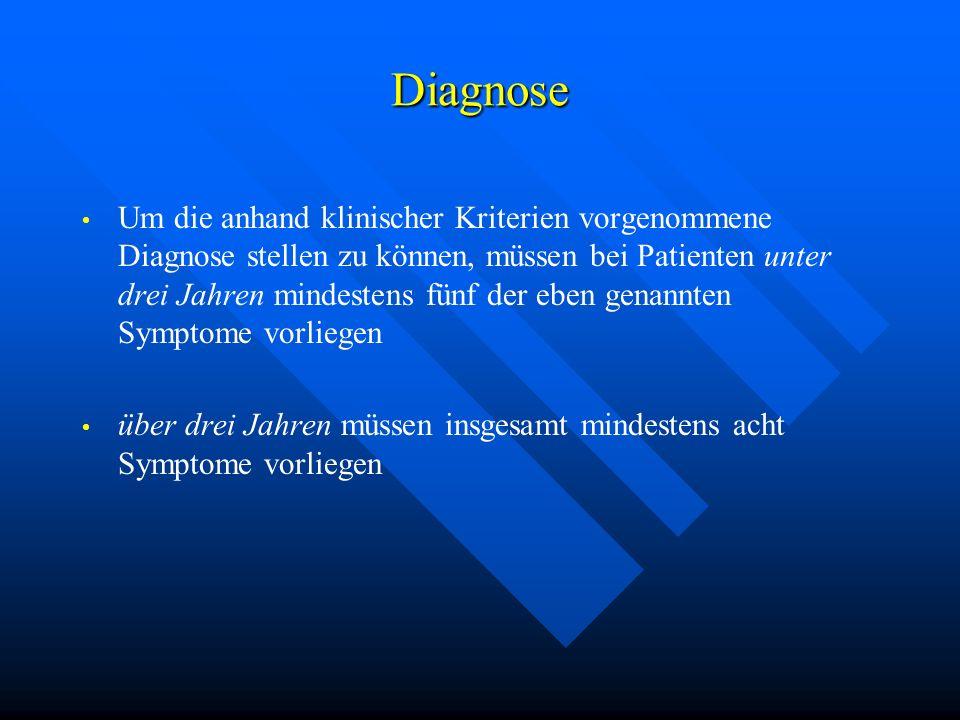 Diagnose Um die anhand klinischer Kriterien vorgenommene Diagnose stellen zu können, müssen bei Patienten unter drei Jahren mindestens fünf der eben g