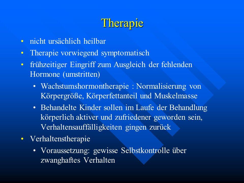 Therapie nicht ursächlich heilbar Therapie vorwiegend symptomatisch frühzeitiger Eingriff zum Ausgleich der fehlenden Hormone (umstritten) Wachstumsho